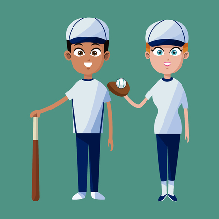 outfield: couple player baseball cap glove bat and ball vector illustration eps 10