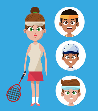 cute woman player tennis with racket-group players vector illustration eps 10