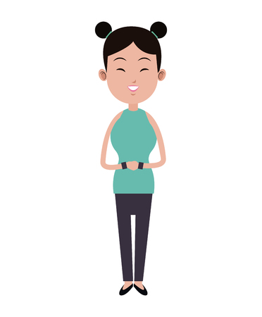 beauty smile: beauty asian woman smile two hair bun bracelets vector illustration eps 10