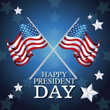 president day: happy president day crossed flag symbol star background vector illustration