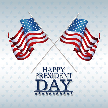 president day: flags american happy president day vector illustration