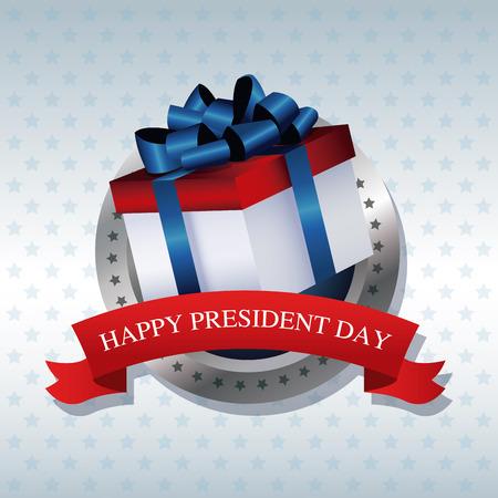president day: happy president day present gift ribbon label vector illustration Illustration