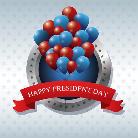 president day: happy president day bunch balloons ribbon label vector illustration Illustration