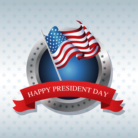president day: happy president day flag poll ribbon label vector illustration Illustration