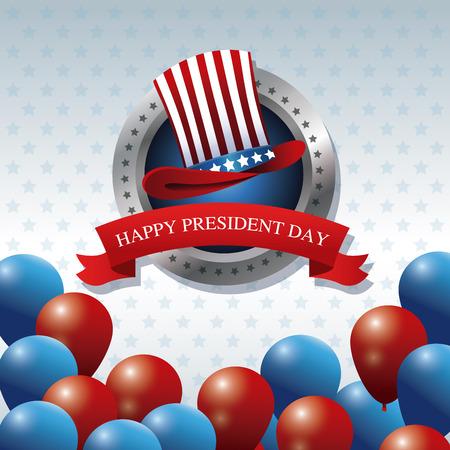 president day: happy president day hat balloons ribbon label vector illustration