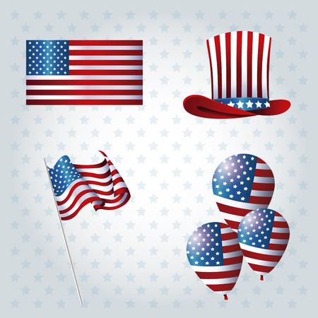 president day: set president day event celebration vector illustration eps 10