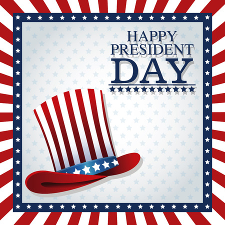 president day: happy president day top hat american frame flag vector illustration Illustration