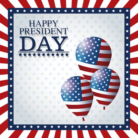 president day: happy president day balloons frame flag vector illustration