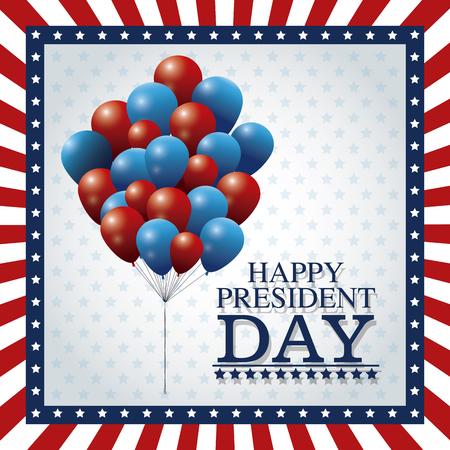 president day: happy president day balloons flying frame flag vector illustration eps 10 Illustration