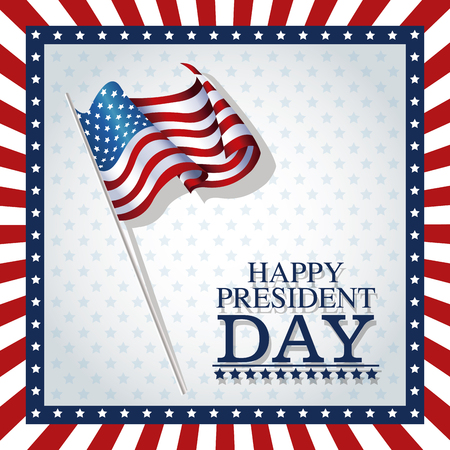 president day: happy president day stars frame flag vector illustration
