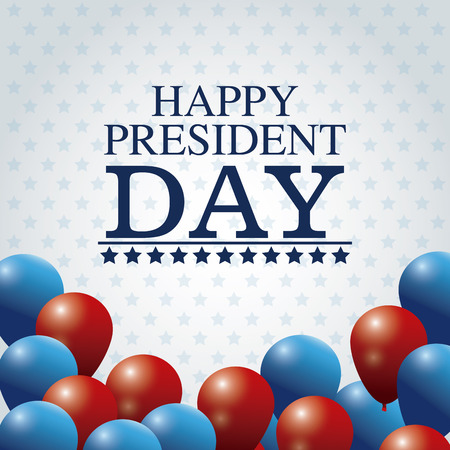 president day: happy president day card colored balloons vector illustration Illustration