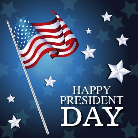 president day: happy president day flag american star background vector illustration eps 10