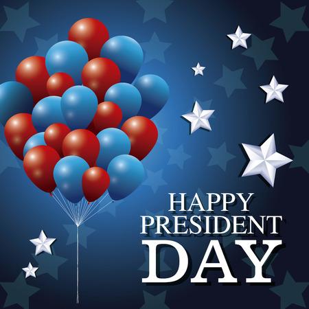 president day: happy president day bunch balloons patriotism star background vector illustration Illustration