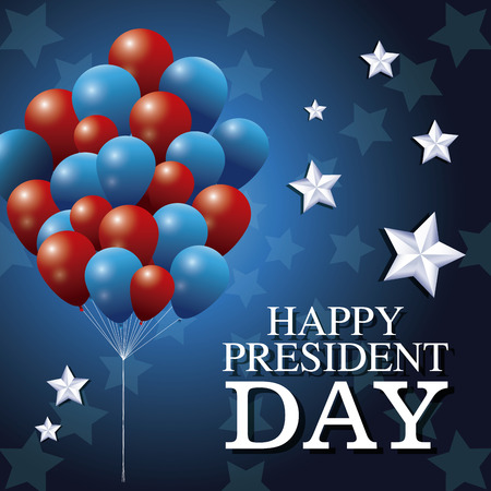 happy president day bunch balloons patriotism star background vector illustration Illustration