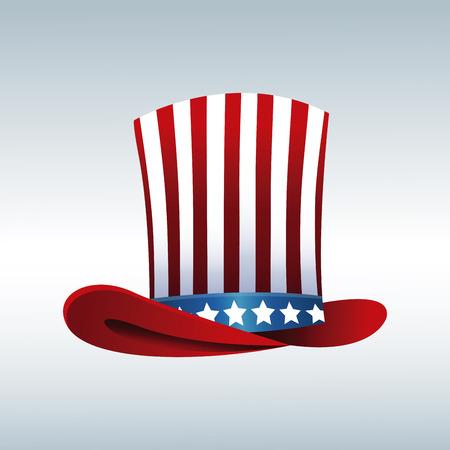abraham: top hat flag president day decorative celebration vector illustration eps 10
