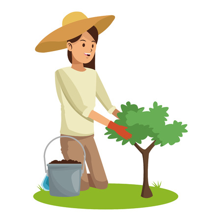 woman with hat gardering planting tree and earth pot vector illustration