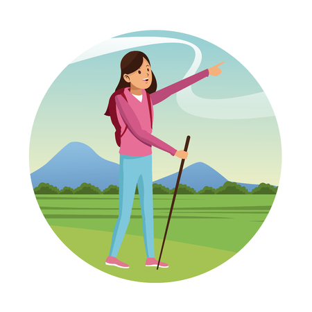 hiking trail: young girl hiking backpack with walking stick-badge vector illustration