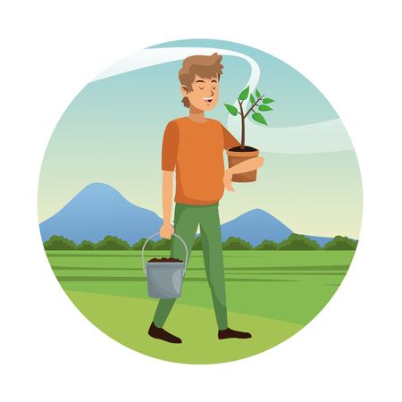 man carrying pot plant and earth pot-gardening vector illustation Illustration