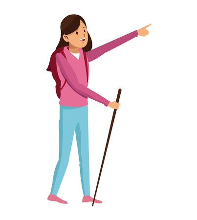young girl hiking backpack with walking stick vector illustration Illustration