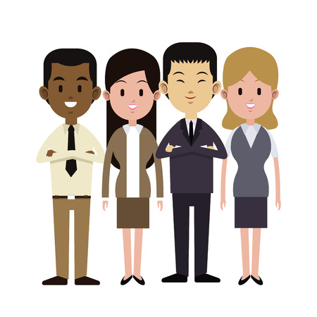 group people multi-ethnic business work vector illustration eps 10 Illustration