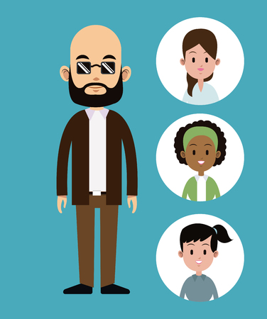 cartoon man bald with sunglasses beard-faces girl icons vector illustration eps 10