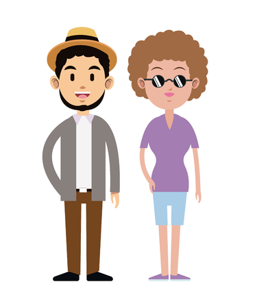 hipster couple hat sunglasses short beard vector illustration eps 10