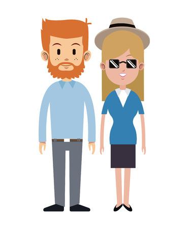 couple man beard sunglasses hat blue shirt vector illustration eps 10