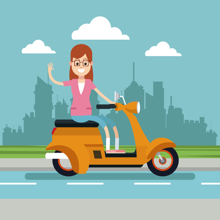 happy woman glasses riding scooter urban background vector illustration eps 10