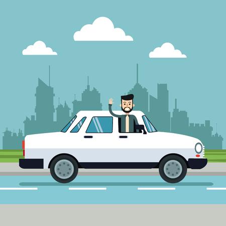 man beard enjoying white car urban background vector illustration eps 10