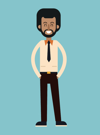 afro american man beard with tie shirt smiling vector illustration eps 10 Illustration