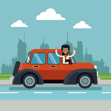 afro american man beard classic car urban background vector illustration eps 10