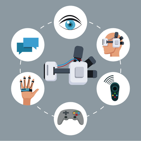 users video: headset vr device technology smart icons vector illustration eps 10