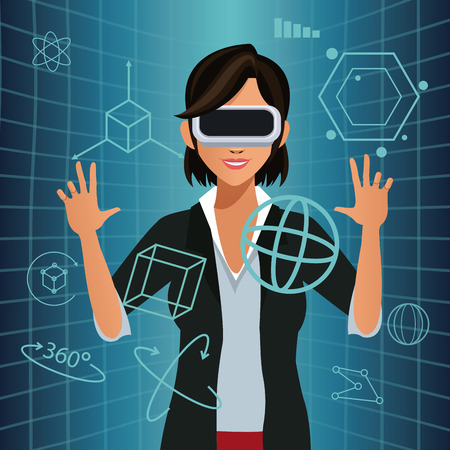 futurist: woman touch virtual reality glasses futurist interface vector illustration eps 10 Illustration