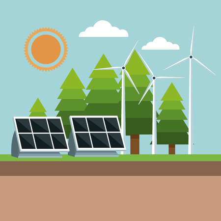 solar panel and windmills eco friendly vector illustration eps 10