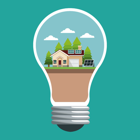 electricity meter: bulb with smart house ecological panel solar vector illustration eps 10