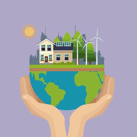 solarpower: hand holding world urban wind turbine ecological vector illustration eps 10