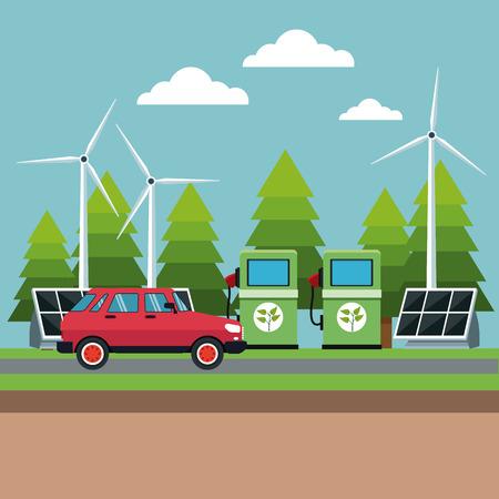 gasoline pump panel solar turbine wind alternative energy vector illustration Illustration