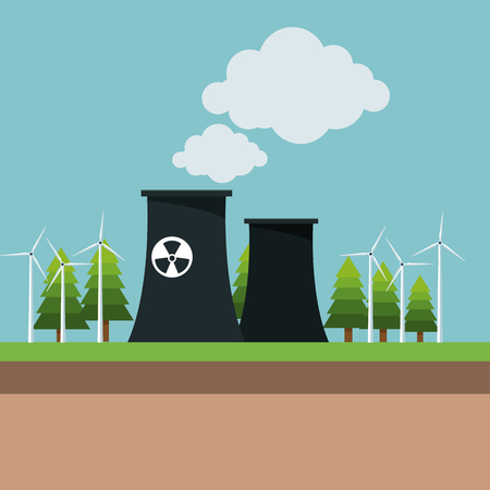nuclear power plant wind turbine energy vector illustration eps 10