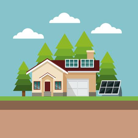 house suburban solar panel landscape vector illustration eps 10 Illustration