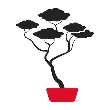 bonsai: bonsai tree japanese ornament icon vector illustration
