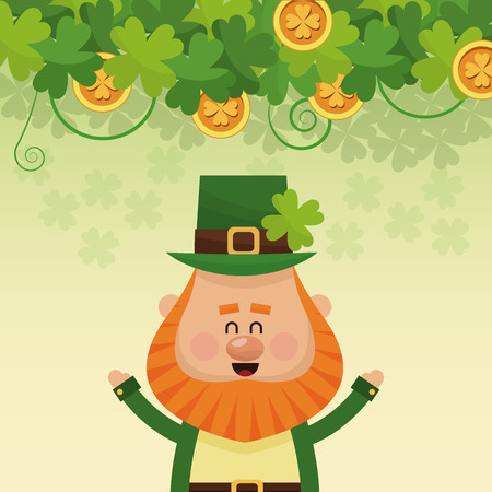cheerful leprechaun hands up poster vector illustration eps 10
