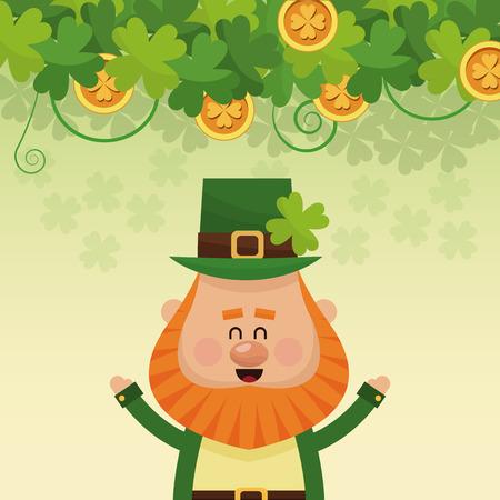 cheerful leprechaun hands up poster vector illustration eps 10