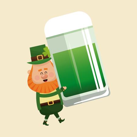 leprechaun carrying mug green beer vector illustration eps 10