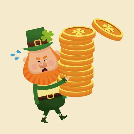 leprachaun: leprechaun carrying pile coins gold vector illustration eps 10