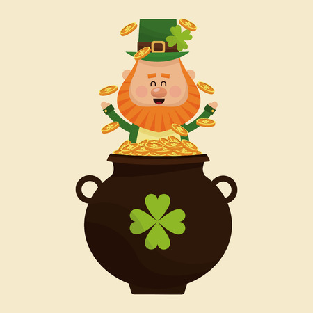 leprechaun happy tossing gold pot vector illustration eps 10 Illustration