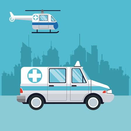 ambulance fly helicopter medical transport city background vector illustration