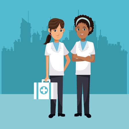 women medical health medicine urban background vector illustration eps 10 Illustration