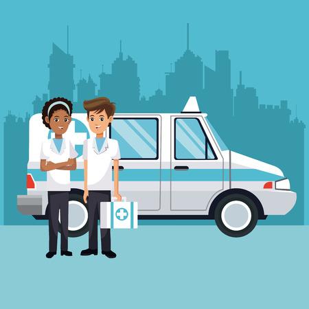 myocardium: people ambulance with kit first aid urban background vector illustration eps 10