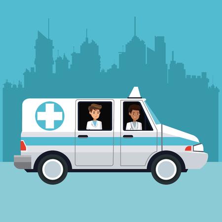 people driving ambulance cityscape vector illustration eps 10 Illustration