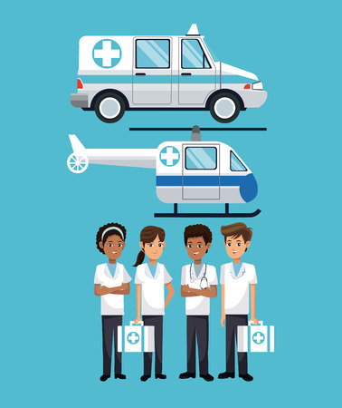people hospital ambulance helicopter vector illustration eps 10